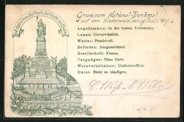 Vorläufer-Lithographie National-Denkmal auf dem Niederwald, 1894