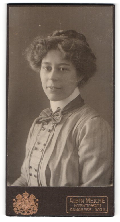 Fotografie Albin Meiche, Annaberg i. S., Portrait wunderschönes Fräulein mit Schleife am Kragen