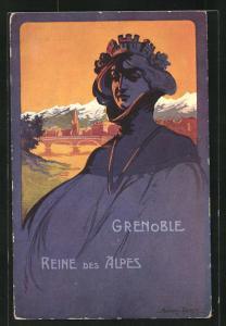 Künstler-AK Ardry & Farcy: Grenoble, Concours de Tir 1911, Reine des Alpes