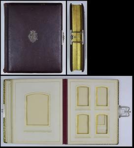Fotoalbum Ledereinband, Metallbeschlag mit Initialen CB, Metallschliesse, 26 Seiten Goldschnitt für CDV - & Kabinettfotos