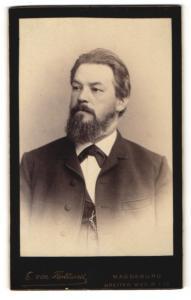 Fotografie E. von Flottwell, Magdeburg, Herr mit Vollbart in Dreiteiler mit Uhrenkette