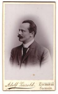 Fotografie Adolf Zierold, Zschopau & Sachsen, Profilportrait Herr mit zurückgekämmrem Haar und Schnauzbart