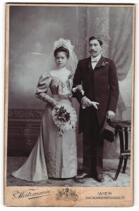 Fotografie S. Weitzmann, Wien, Portrait Braut und Bräutigam, Hochzeit