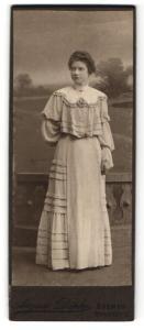 Fotografie August Döpke, Bremen, Portrait junge Dame im eleganten Kleid