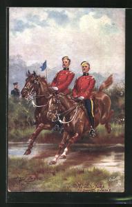 Künstler-AK Harry Payne: The Water Jump, 7th Dragoon Guards, Soldaten zu Pferde springen über Wassergraben