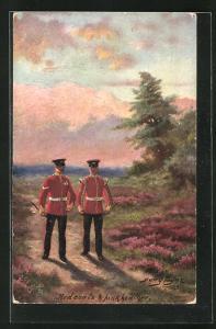 Künstler-AK Harry Payne: Red coats & pink heather, Zwei Soldaten in roten Uniformen