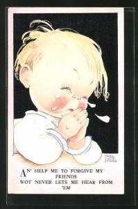 Künstler-AK Mabel Lucie Attwell: Kleiner Junge weint bitterlich und faltet die Hände zum Gebet