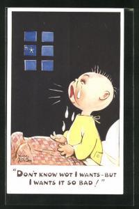 Künstler-AK Mabel Lucie Attwell: Kleiner Junge weint nachts bitterlich in seinem Bett