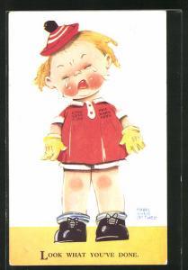 Künstler-AK Mabel Lucie Attwell: Mädchen mit rotem Hütchen weint bitterlich