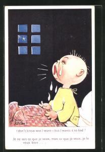 Künstler-AK Mabel Lucie Attwell: Kleinkind weint nachts bitterlich in seinem Bettchen