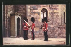 AK Changing Guard, Britische Soldaten in Uniformen mit Gewehren