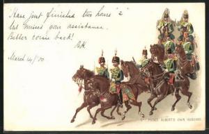 Lithographie 11th Prince Albert`s own Hussars, britische Husaren