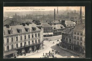 AK Commentry, Place du 14 Juillet, Rue de la Mine et Vue generale des Usines