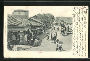 AK Colombo, Pettah, Strassenansicht mit Rinderwagen, Häusern und Geschäften