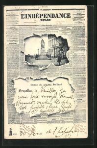 Zeitungs-AK Brüssel / Bruxelles, Statue du Général Belliard, Zeitung L`Indépendence