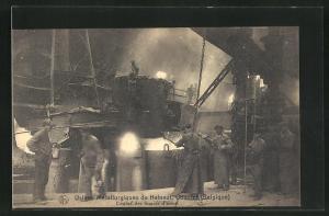 AK Couillet, Usines Metallurgiques du Hainaut, Coulee des lingots d`acier