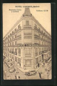AK Madrid, Hotel Londres, Eckfassade, Strassenbahn
