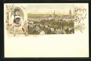 AK Bern, Ortsansicht mit Häuser, Kirchen und Gebirge, Frau in Tracht, Edelweiss