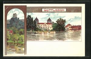 Künstler-AK Gottlieben, Teilansicht, Salenstein