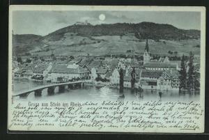 Mondschein-AK Stein am Rhein, Teilansicht mit Brücke