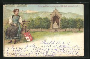 Lithographie Stans, Winkelrieddenkmal mit Unterwaldnerin in Tracht, Wappen