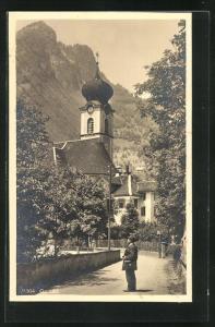 AK Gersau, Ortspartie mit Kirche