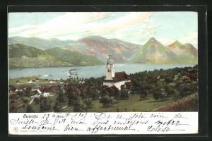 AK Buochs, Ortsansicht mit Blick auf Kirche, Häuser, Wasser und Gebirge