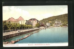 AK Brunnen, Waldstätterhof mit Mythen, Wasser mit Ufer und Blick auf Berge