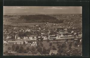 AK Bischofszell, Totalansicht mit Häusern, Kirche und Landschaft aus der Vogelschau