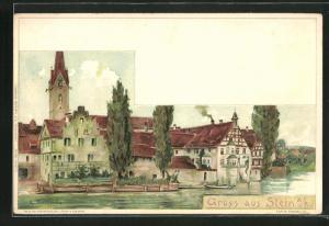 AK Stein a. R., Teilansicht vom Wasser aus auf Häuser und Kirchturm