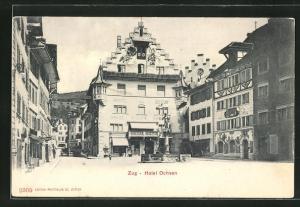 AK Zug, Hotel Ochsen und Häuserfassaden