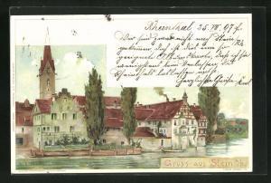 AK Stein a. R., Teilansicht mit Blick vom Wasser auf Häuser und Kirchturm