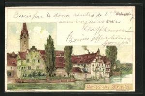 AK Stein a. R., Blick vom Ufer auf Häuser am Wasser und Kirchturm