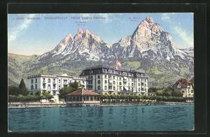 AK Brunnen, Waldstätterhof, Hotel Quatro Oantons, Wasser und Berge, Gr. Mythen, kl. Mythen