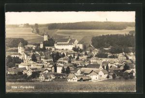 AK Porrentruy, Totalansicht mit Häuser und Kirche, Blick auf Felder und Wälder