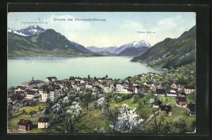 AK Gersau am Vierwaldstättersee, Gesamtansicht mit Buochserhorn u. Pilatus