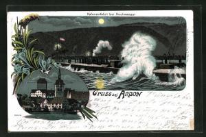 AK Arbon, Hafeneinfahrt bei Hochwasser, Ortspartie