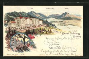 Lithographie Felsenegg / Zugerberg, Teilansicht mit Rigi, Berner-Alpen u. Pilatus, Ortspartie