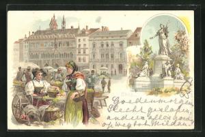 Lithographie Basel, Marktplatz, Denkmal