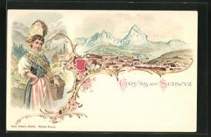 Lithographie Schwyz, Ortsansicht, Frau in Tracht