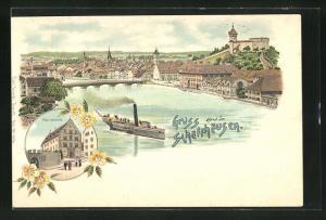 Lithographie Schaffhausen, Ortsansicht, Alte Kaserne