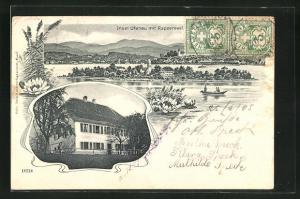 AK Ufenau, Ortsansicht mit Rapperswil, Gartenpartie mit Gebäudeansicht