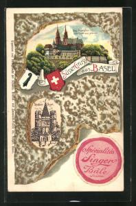Präge-Lithographie Basel, Münster vom Rhein aus gesehen, Spalenthor