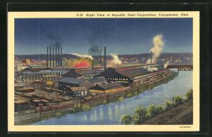 AK Youngstown, OH, Night View of Repubic Steel Corporation