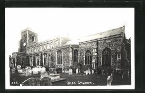 AK Diss, church, Kirche mit Friedhof