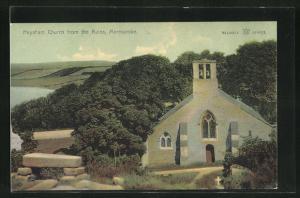 AK Morecambe, Heysham Church from the ruins