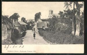AK Godshill, Ortspartie mit Strasse