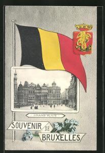 AK Brüssel / Bruxelles, Grand Place, Länderflagge und Wappen