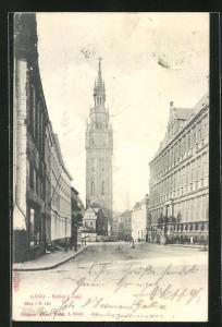AK Gand, Beffroi, Strassenansicht mit Turm