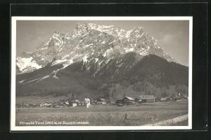 AK Ehrwald, Ortsansicht mit Zugspitzmassiv